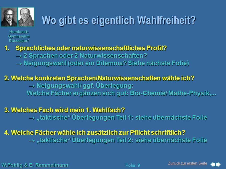 Zurück zur ersten Seite W.Pohlig & E. Rammelmann Humboldt- Gymnasium Düsseldorf Folie: 9 Wo gibt es eigentlich Wahlfreiheit? 1.Sprachliches oder natur