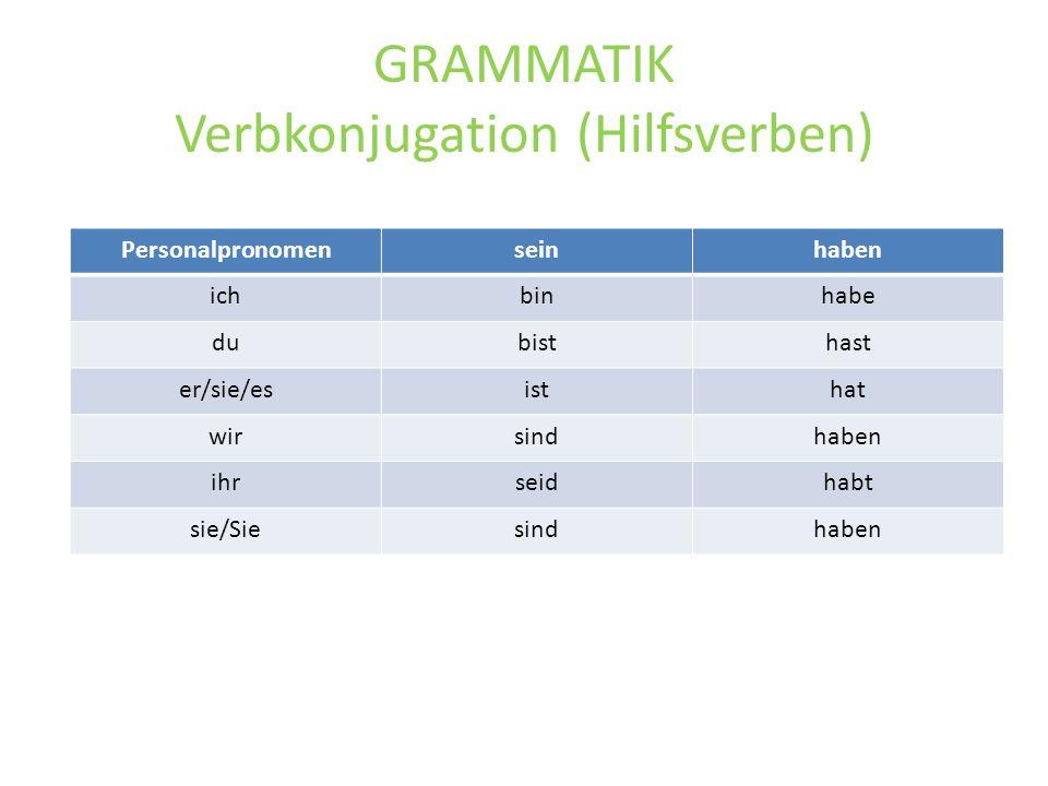GRAMMATIK Verbkonjugation (Hilfsverben) Personalpronomenseinhaben ichbinhabe dubisthast er/sie/esisthat wirsindhaben ihrseidhabt sie/Siesindhaben