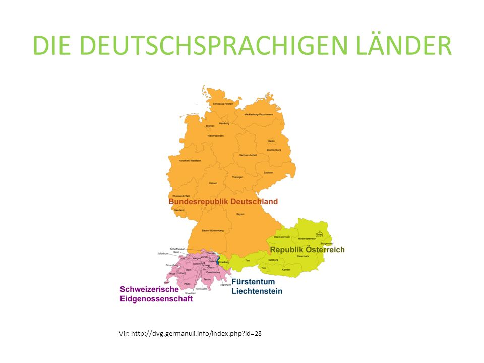 DIE DEUTSCHSPRACHIGEN LÄNDER Vir: http://dvg.germanuli.info/index.php?id=28