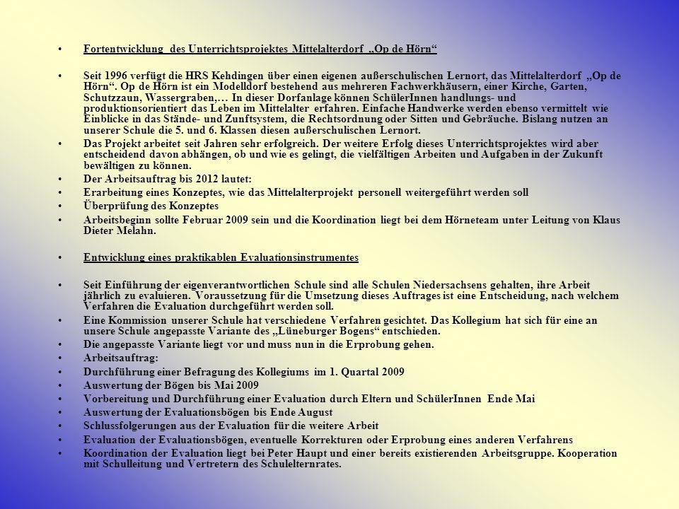 Arbeitsschwerpunkte für unser Schulprogramm ausgelegt auf die Zeit von Januar 2009 – 2011.