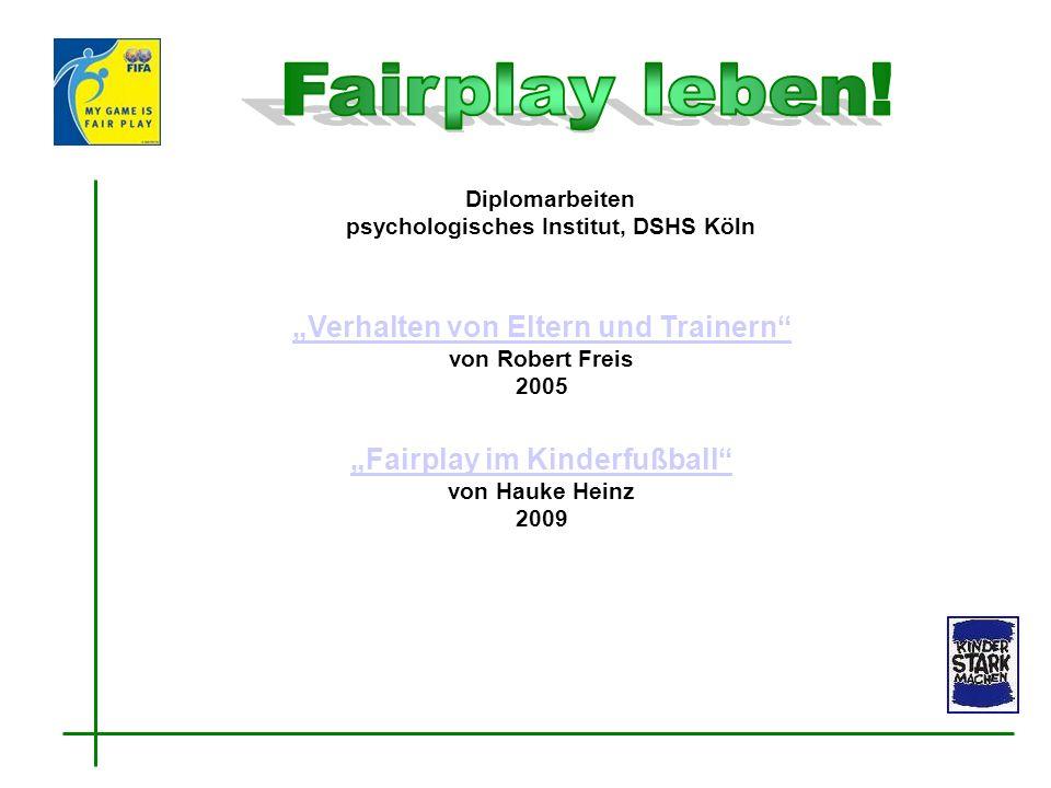 Verhalten von Eltern und Trainern Verhalten von Eltern und Trainern von Robert Freis 2005 Diplomarbeiten psychologisches Institut, DSHS Köln Fairplay