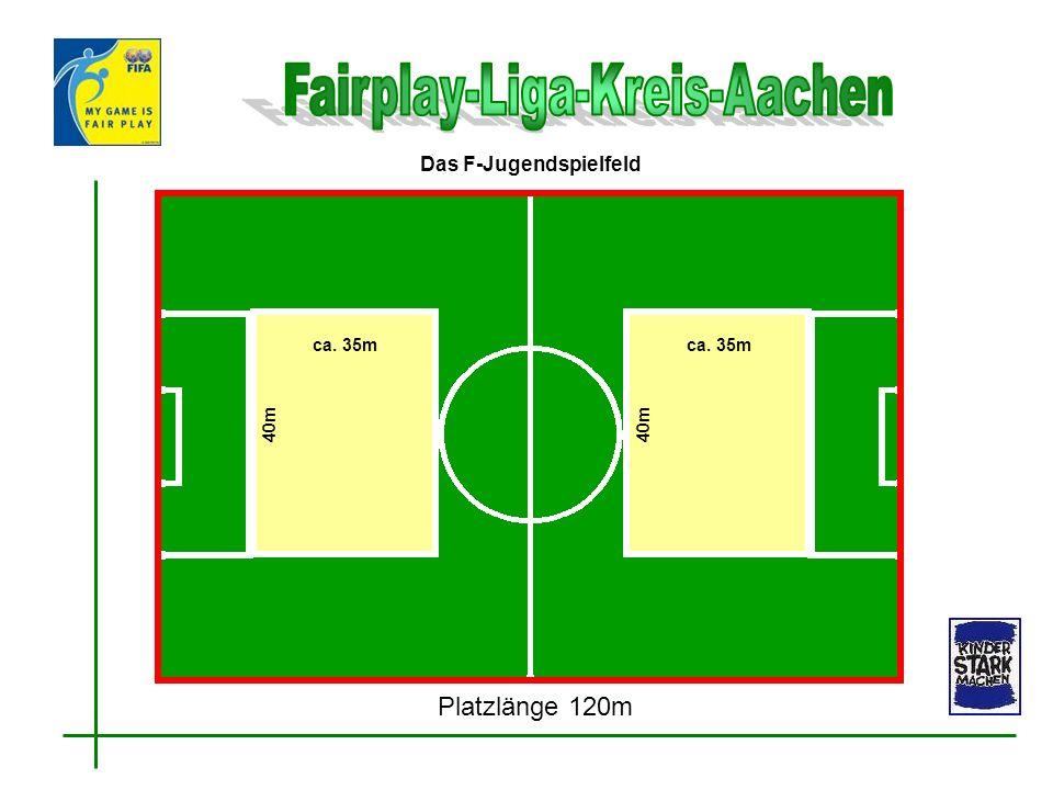 ca. 35m 40m ca. 35m 40m Das F-Jugendspielfeld Platzlänge 120m