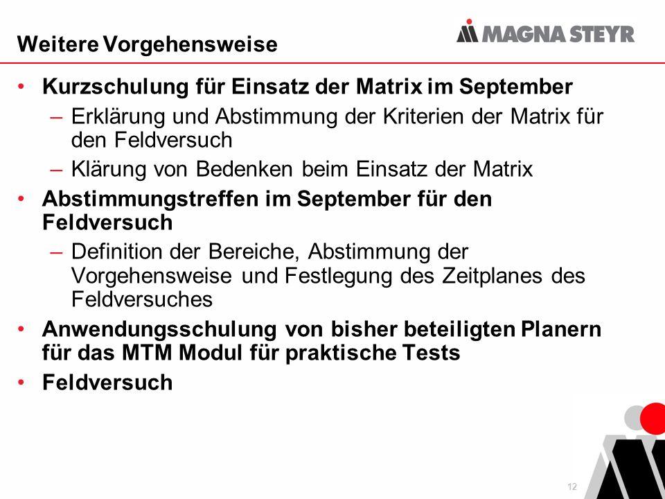 12 Weitere Vorgehensweise Kurzschulung für Einsatz der Matrix im September –Erklärung und Abstimmung der Kriterien der Matrix für den Feldversuch –Klä