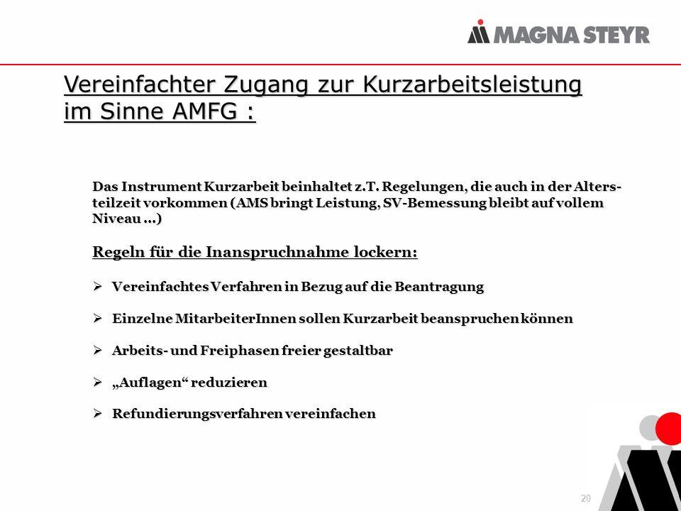 20 Vereinfachter Zugang zur Kurzarbeitsleistung im Sinne AMFG : Das Instrument Kurzarbeit beinhaltet z.T.