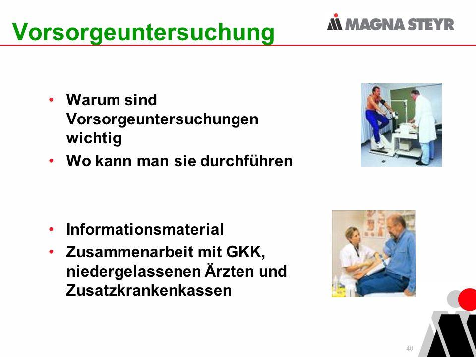 40 Vorsorgeuntersuchung Warum sind Vorsorgeuntersuchungen wichtig Wo kann man sie durchführen Informationsmaterial Zusammenarbeit mit GKK, niedergelas
