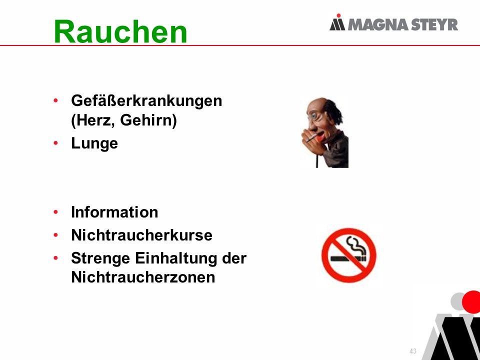 43 Rauchen Gefäßerkrankungen (Herz, Gehirn) Lunge Information Nichtraucherkurse Strenge Einhaltung der Nichtraucherzonen