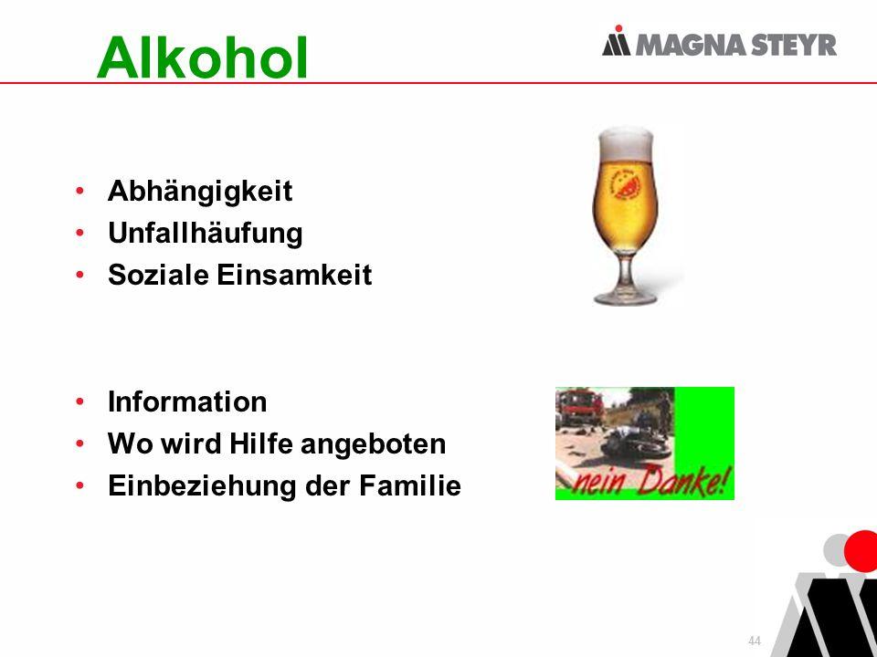 44 Alkohol Abhängigkeit Unfallhäufung Soziale Einsamkeit Information Wo wird Hilfe angeboten Einbeziehung der Familie