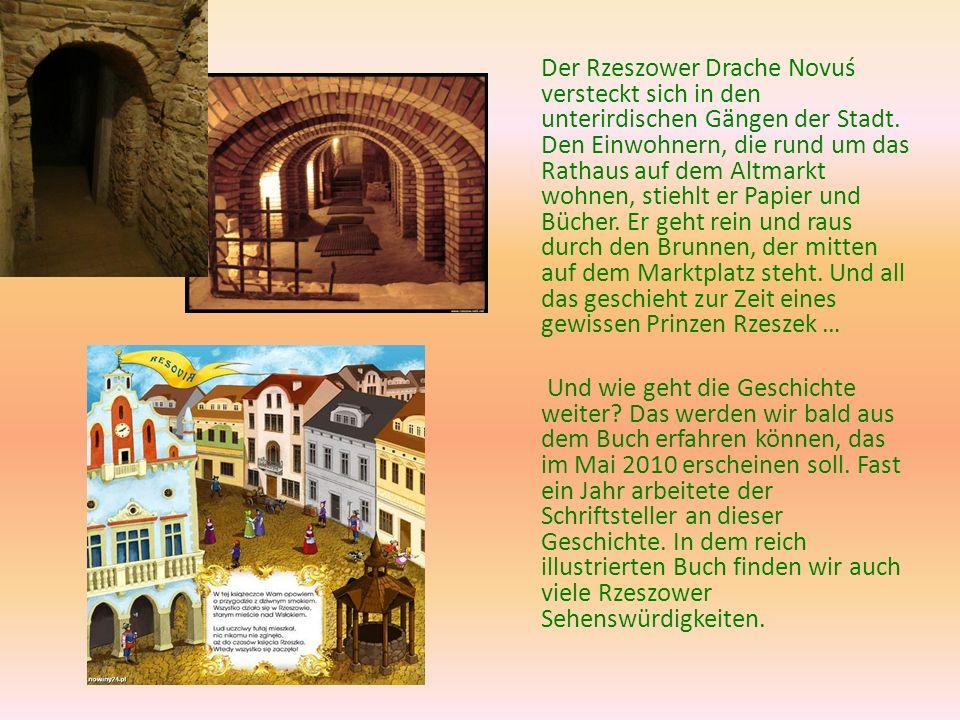 Der Rzeszower Drache Novuś versteckt sich in den unterirdischen Gängen der Stadt. Den Einwohnern, die rund um das Rathaus auf dem Altmarkt wohnen, sti