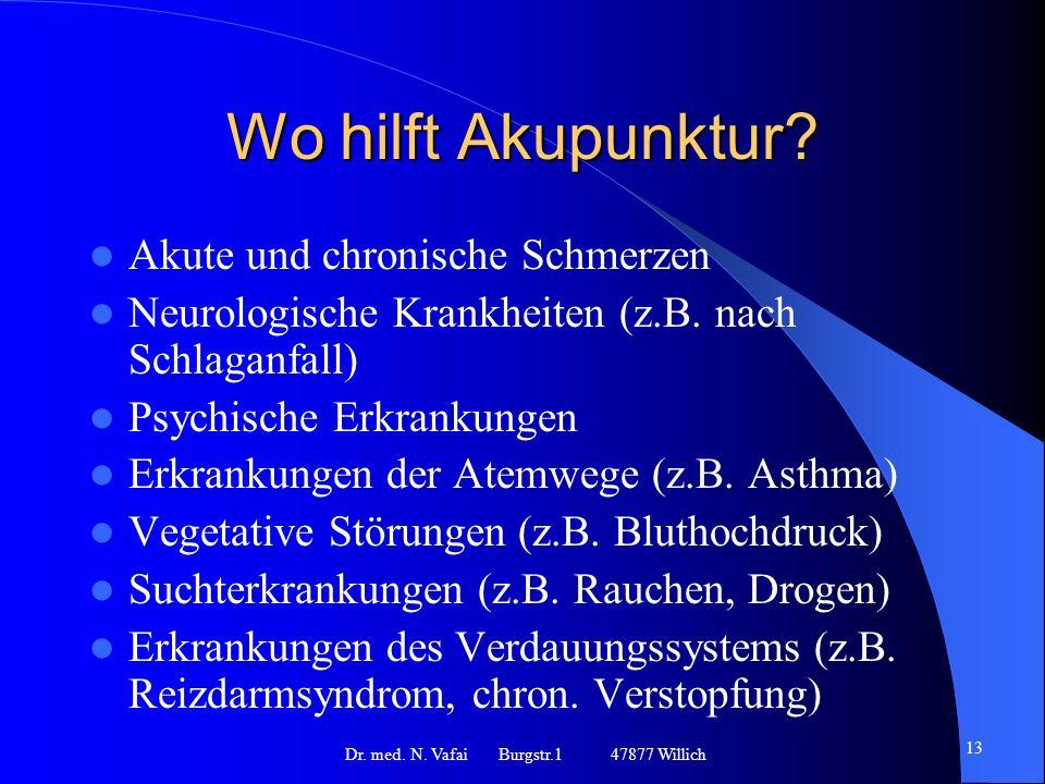 Wo hilft Akupunktur.Akute und chronische Schmerzen Neurologische Krankheiten (z.B.