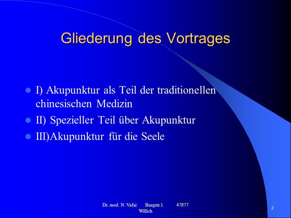 Gliederung des Vortrages I) Akupunktur als Teil der traditionellen chinesischen Medizin II) Spezieller Teil über Akupunktur III)Akupunktur für die Seele Dr.