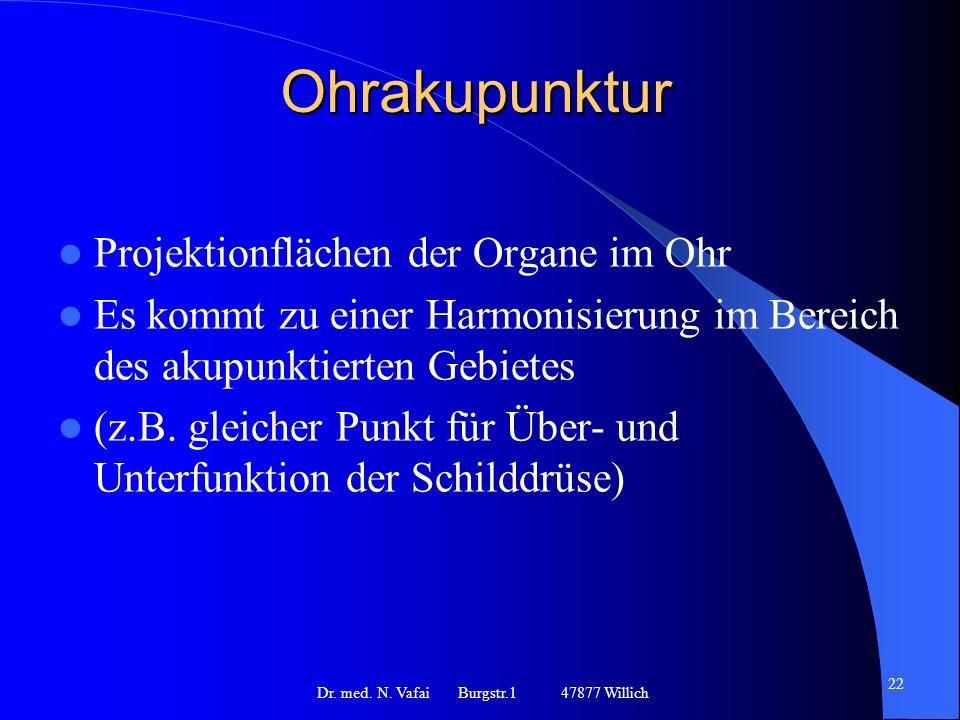 Ohrakupunktur Projektionflächen der Organe im Ohr Es kommt zu einer Harmonisierung im Bereich des akupunktierten Gebietes (z.B.