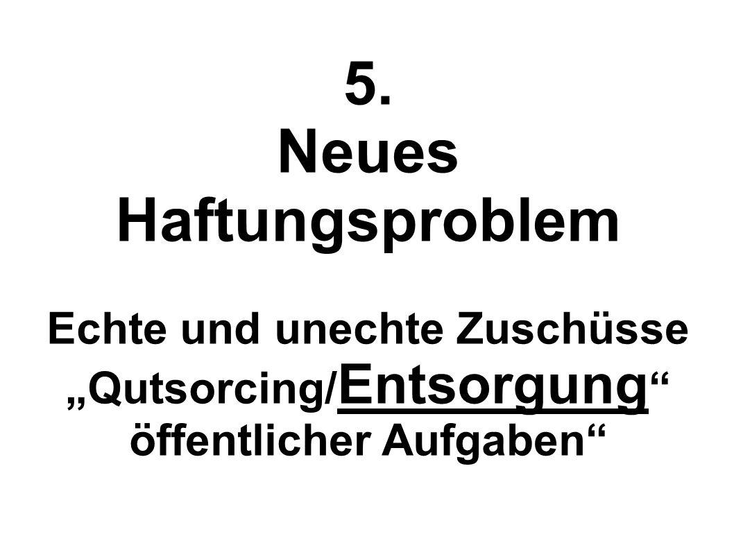 5. Neues Haftungsproblem Echte und unechte Zuschüsse Qutsorcing/ Entsorgung öffentlicher Aufgaben