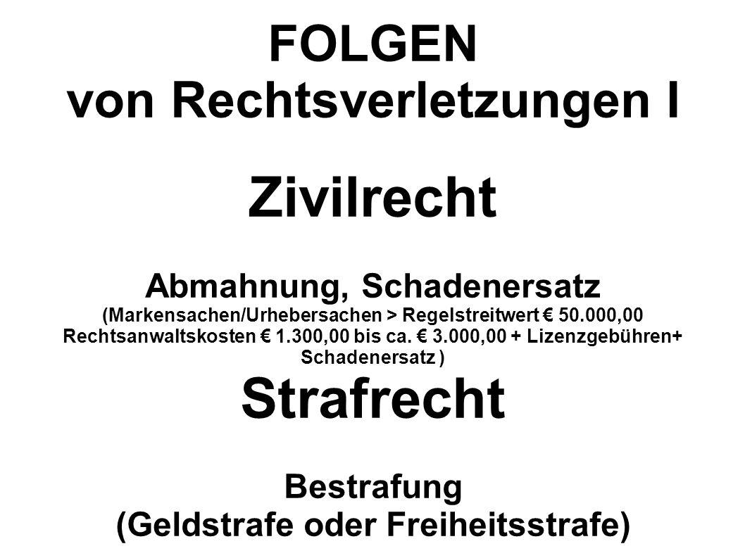 FOLGEN von Rechtsverletzungen I Zivilrecht Abmahnung, Schadenersatz (Markensachen/Urhebersachen > Regelstreitwert 50.000,00 Rechtsanwaltskosten 1.300,