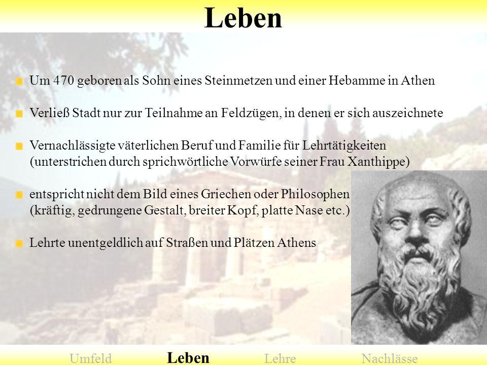 Um 470 geboren als Sohn eines Steinmetzen und einer Hebamme in Athen Verließ Stadt nur zur Teilnahme an Feldzügen, in denen er sich auszeichnete Verna
