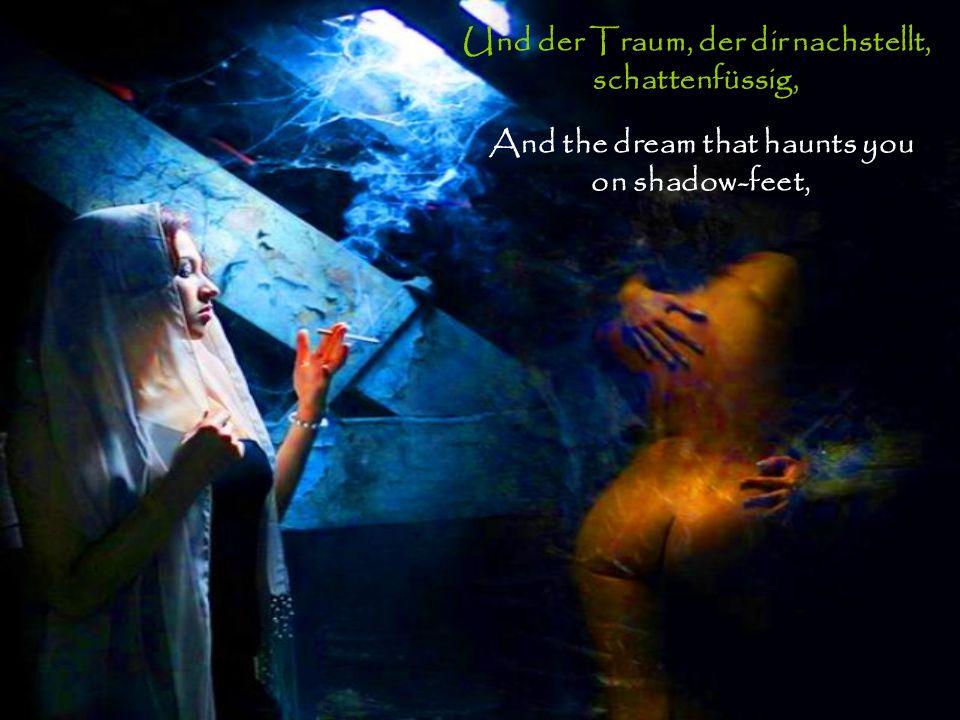 Und der Traum, der dir nachstellt, schattenfüssig, And the dream that haunts you on shadow-feet,