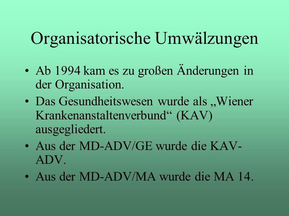 Organisatorische Umwälzungen Ab 1994 kam es zu großen Änderungen in der Organisation. Das Gesundheitswesen wurde als Wiener Krankenanstaltenverbund (K