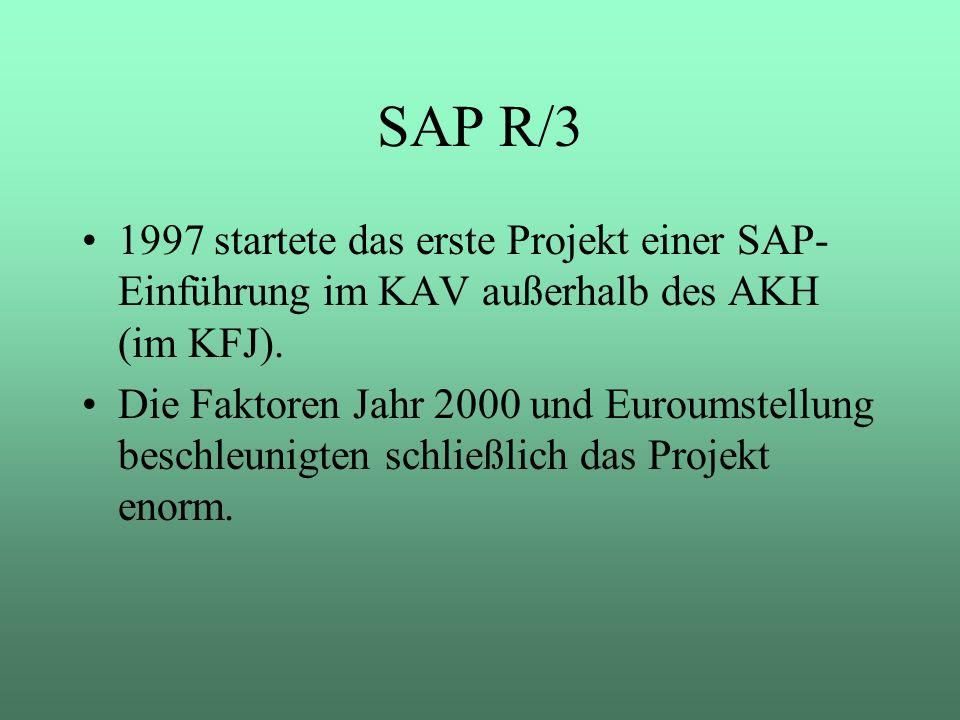 SAP R/3 1997 startete das erste Projekt einer SAP- Einführung im KAV außerhalb des AKH (im KFJ). Die Faktoren Jahr 2000 und Euroumstellung beschleunig