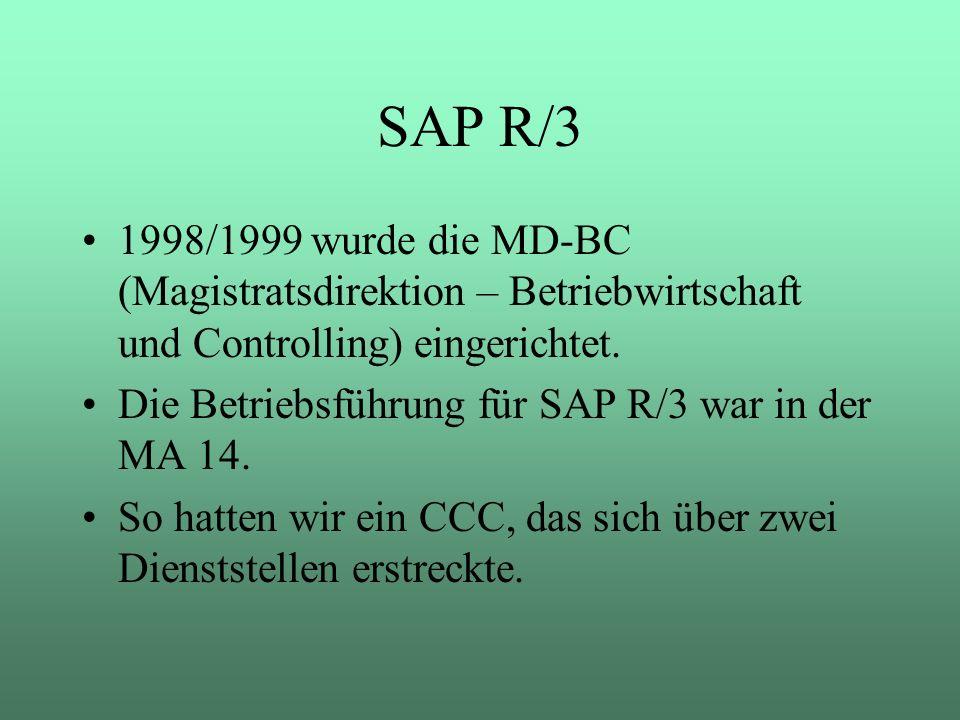 SAP R/3 1998/1999 wurde die MD-BC (Magistratsdirektion – Betriebwirtschaft und Controlling) eingerichtet. Die Betriebsführung für SAP R/3 war in der M