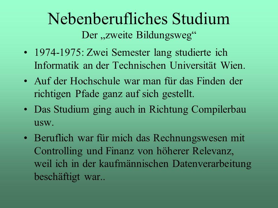 1974-1975: Zwei Semester lang studierte ich Informatik an der Technischen Universität Wien. Auf der Hochschule war man für das Finden der richtigen Pf