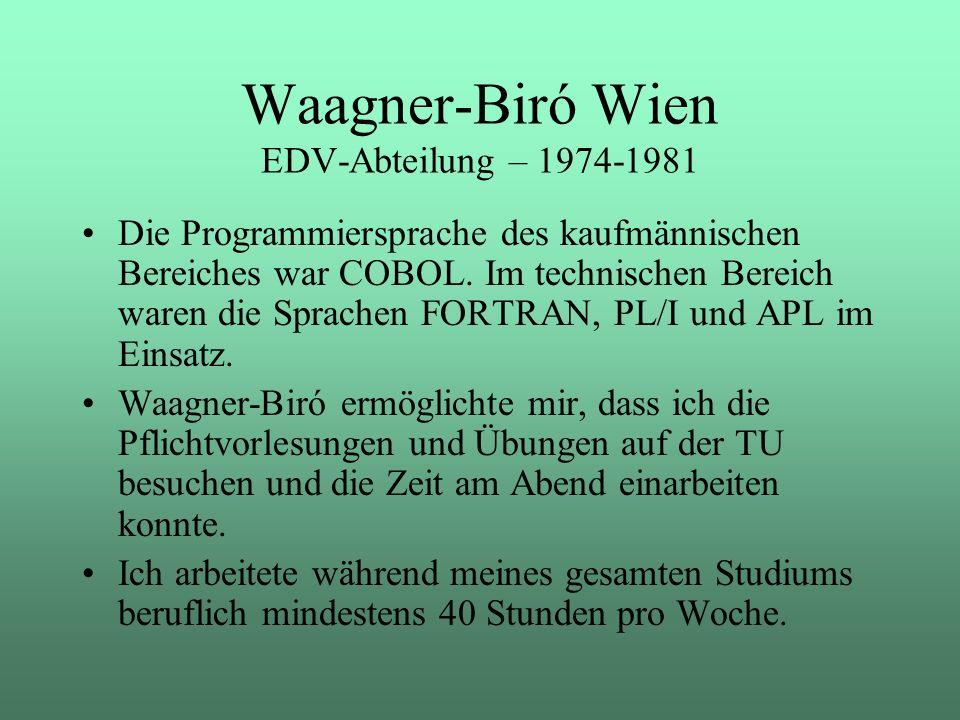 Die Programmiersprache des kaufmännischen Bereiches war COBOL. Im technischen Bereich waren die Sprachen FORTRAN, PL/I und APL im Einsatz. Waagner-Bir