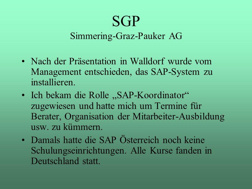 Nach der Präsentation in Walldorf wurde vom Management entschieden, das SAP-System zu installieren. Ich bekam die Rolle SAP-Koordinator zugewiesen und