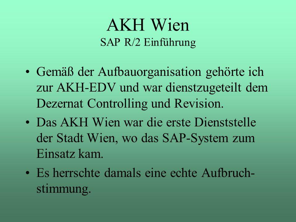 Gemäß der Aufbauorganisation gehörte ich zur AKH-EDV und war dienstzugeteilt dem Dezernat Controlling und Revision. Das AKH Wien war die erste Diensts