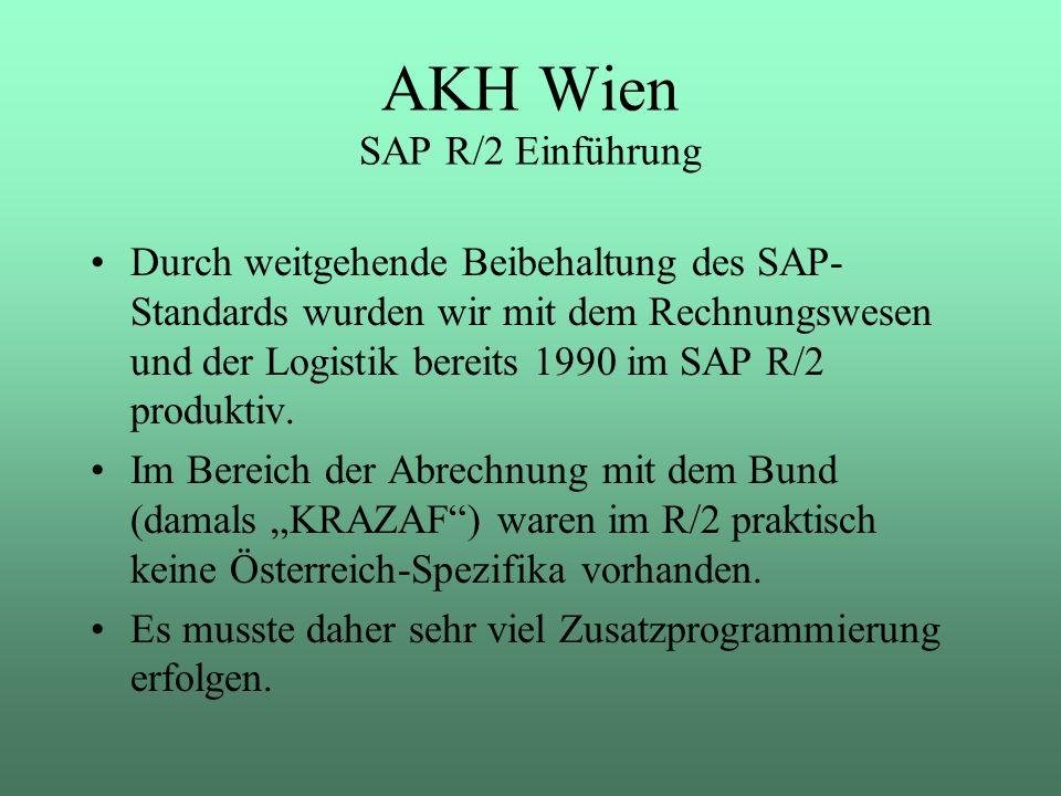 Durch weitgehende Beibehaltung des SAP- Standards wurden wir mit dem Rechnungswesen und der Logistik bereits 1990 im SAP R/2 produktiv. Im Bereich der