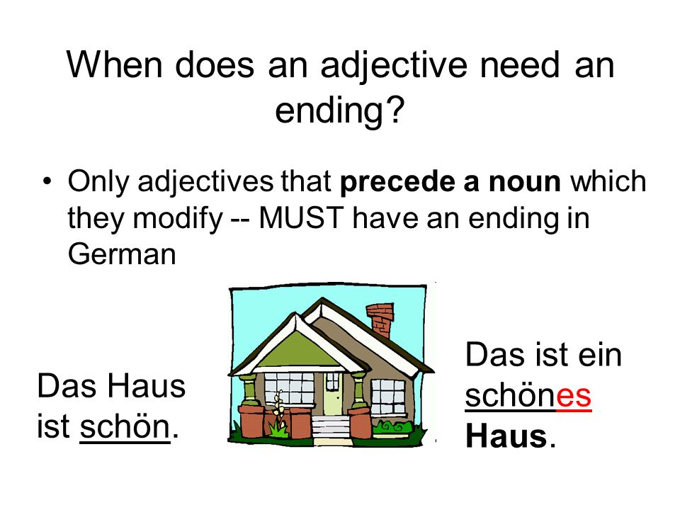 When does an adjective need an ending? Only adjectives that precede a noun which they modify -- MUST have an ending in German Das Haus ist schön. Das