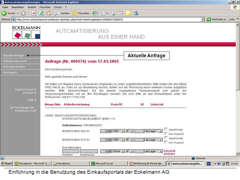 Einführung in die Benutzung des Einkaufsportals der Eckelmann AG Aktuelle Anfrage
