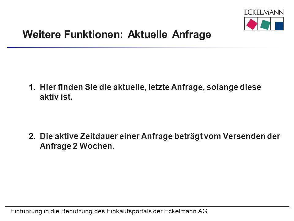 Einführung in die Benutzung des Einkaufsportals der Eckelmann AG Weitere Funktionen: Aktuelle Anfrage 1.Hier finden Sie die aktuelle, letzte Anfrage,