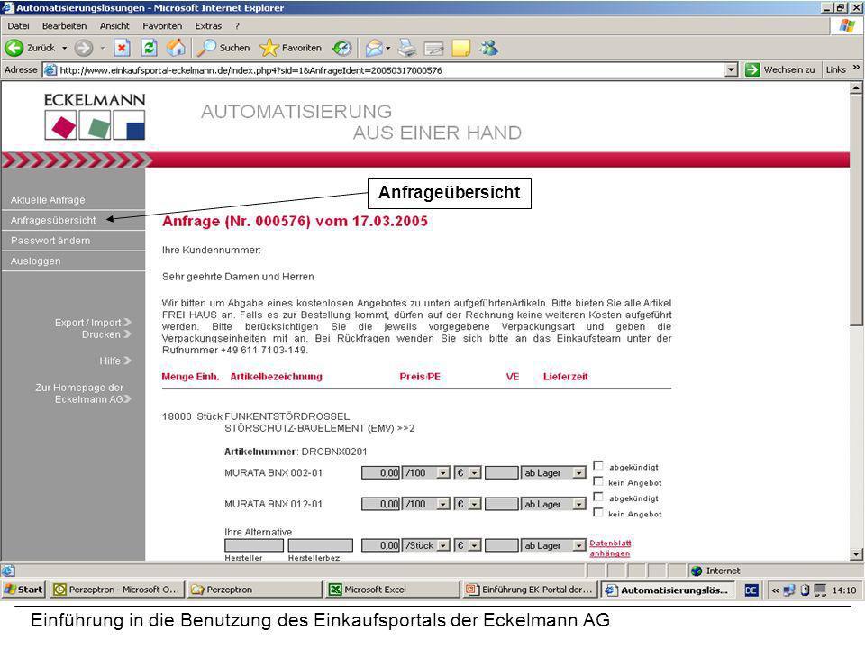 Einführung in die Benutzung des Einkaufsportals der Eckelmann AG Anfrageübersicht