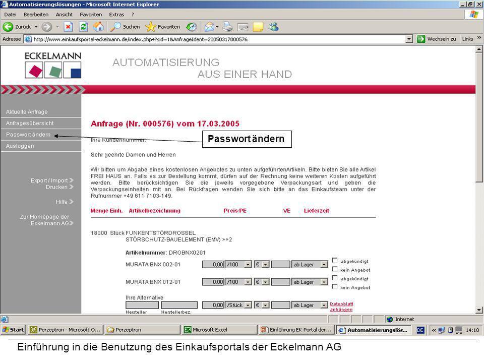 Einführung in die Benutzung des Einkaufsportals der Eckelmann AG Passwort ändern