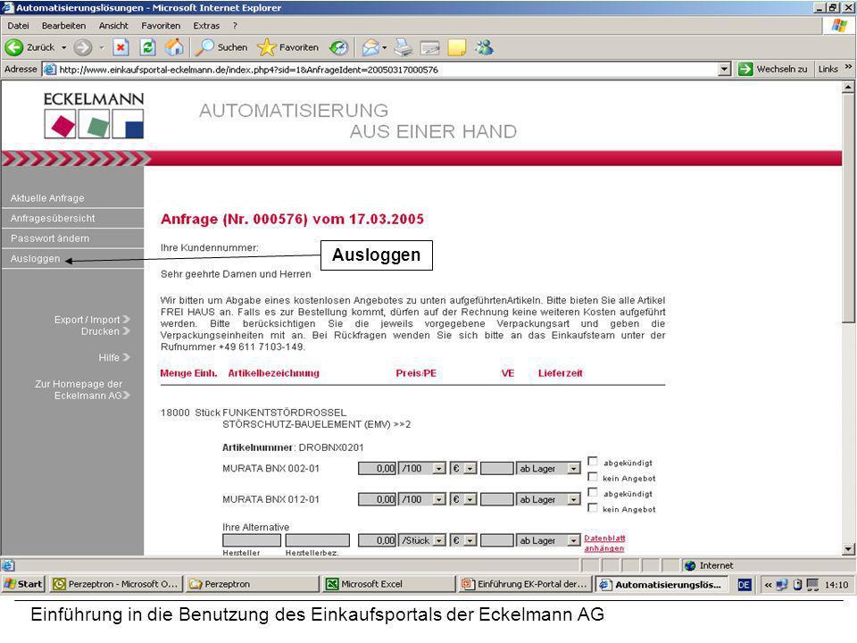 Einführung in die Benutzung des Einkaufsportals der Eckelmann AG Ausloggen