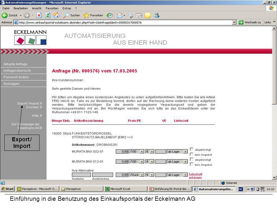 Einführung in die Benutzung des Einkaufsportals der Eckelmann AG Export / Import