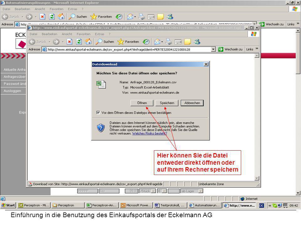 Einführung in die Benutzung des Einkaufsportals der Eckelmann AG Hier können Sie die Datei entweder direkt öffnen oder auf Ihrem Rechner speichern
