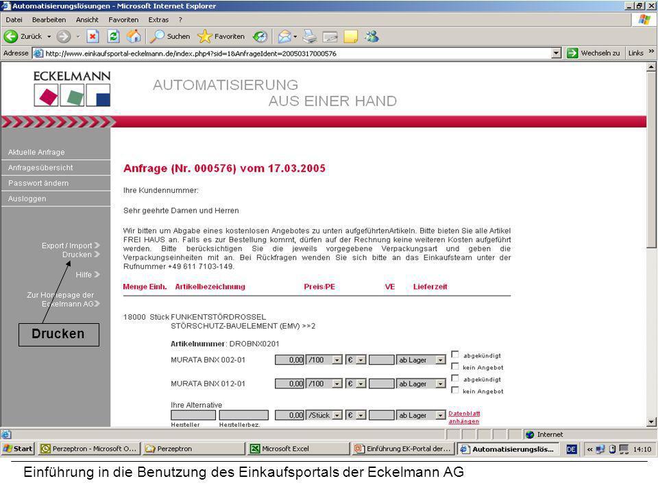 Einführung in die Benutzung des Einkaufsportals der Eckelmann AG Drucken