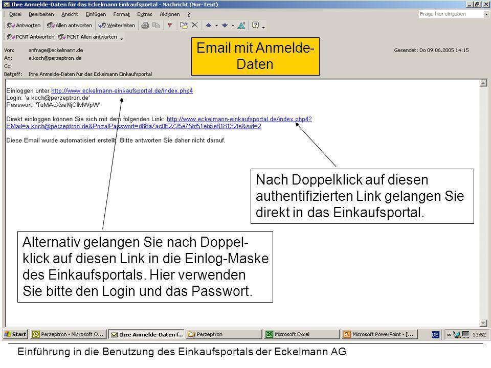 Einführung in die Benutzung des Einkaufsportals der Eckelmann AG Nach Doppelklick auf diesen authentifizierten Link gelangen Sie direkt in das Einkauf