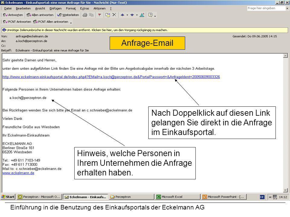 Einführung in die Benutzung des Einkaufsportals der Eckelmann AG Nach Doppelklick auf diesen Link gelangen Sie direkt in die Anfrage im Einkaufsportal