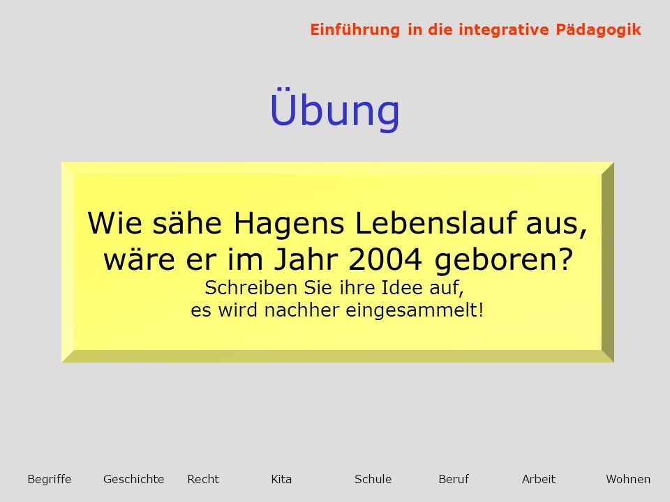 Einführung in die integrative Pädagogik BegriffeGeschichteRechtKitaSchuleBerufArbeitWohnen Übung Wie sähe Hagens Lebenslauf aus, wäre er im Jahr 2004 geboren.