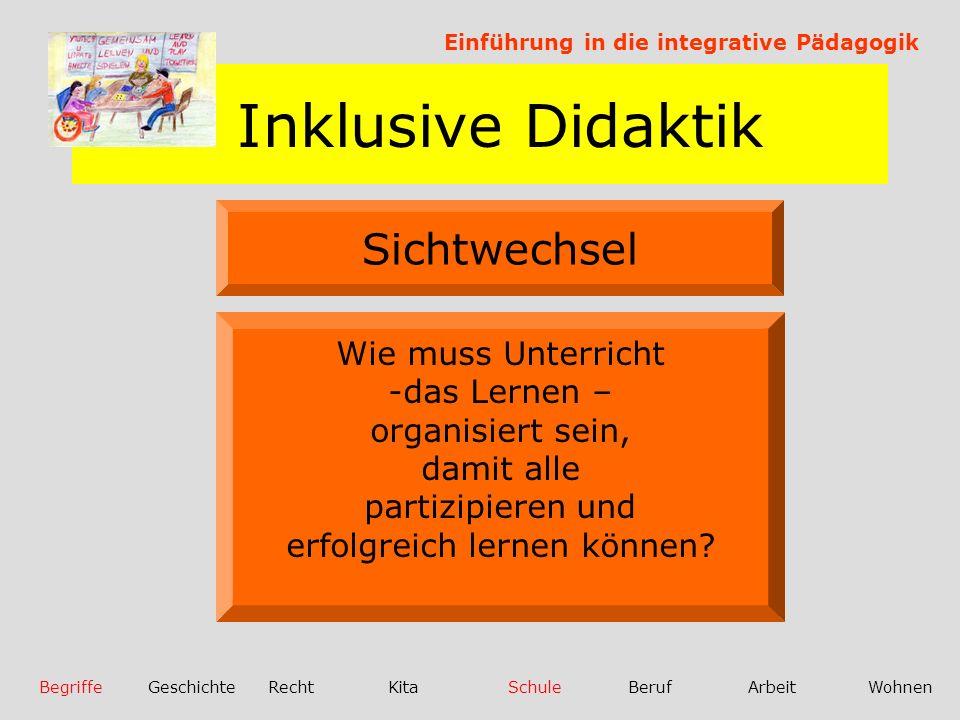 Inklusive Didaktik Einführung in die integrative Pädagogik BegriffeGeschichteRechtKitaSchuleBerufArbeitWohnen Sichtwechsel Nicht die Frage nach Behindert oder nicht Behindert, sondern...