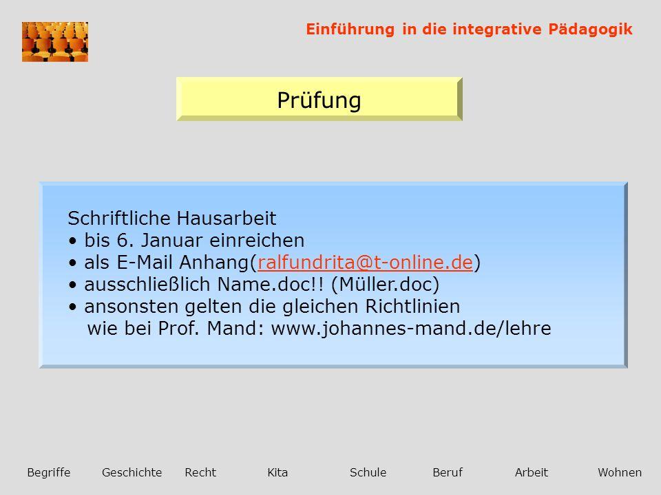 Einführung in die integrative Pädagogik BegriffeGeschichteRechtKitaSchuleBerufArbeitWohnen Prüfung Schriftliche Hausarbeit bis 6.