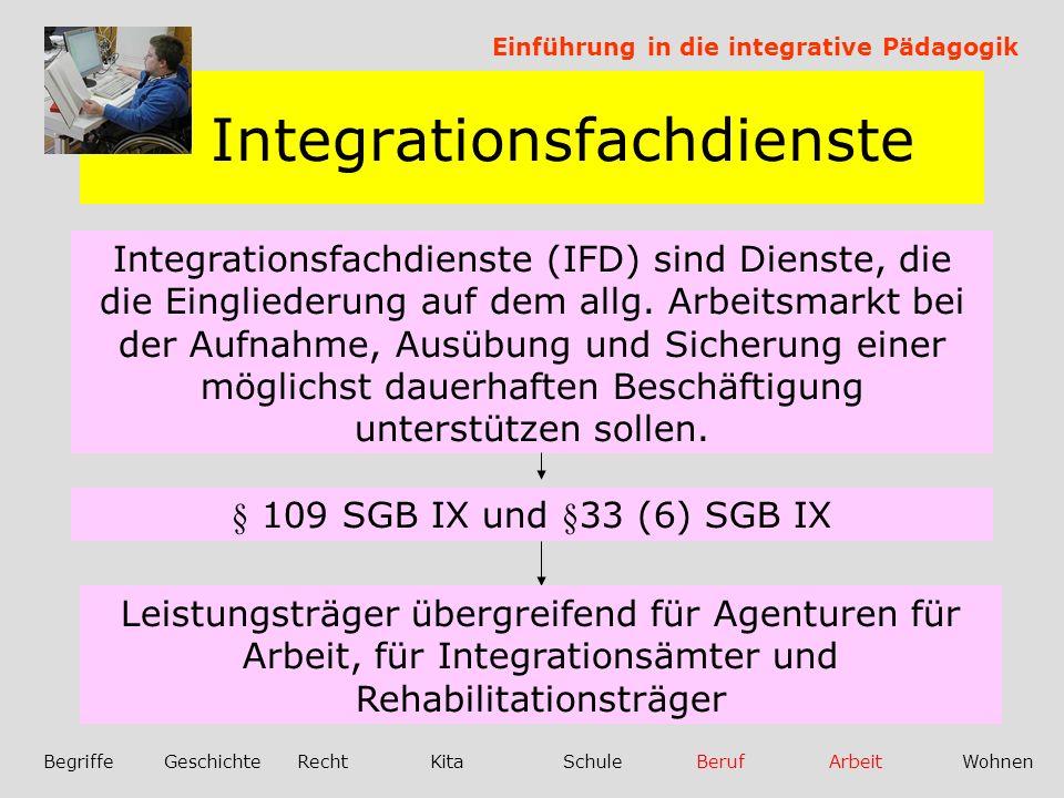 Integrationsfachdienste Einführung in die integrative Pädagogik BegriffeGeschichteRechtKitaSchuleBerufArbeitWohnen Integrationsfachdienste (IFD) sind Dienste, die die Eingliederung auf dem allg.