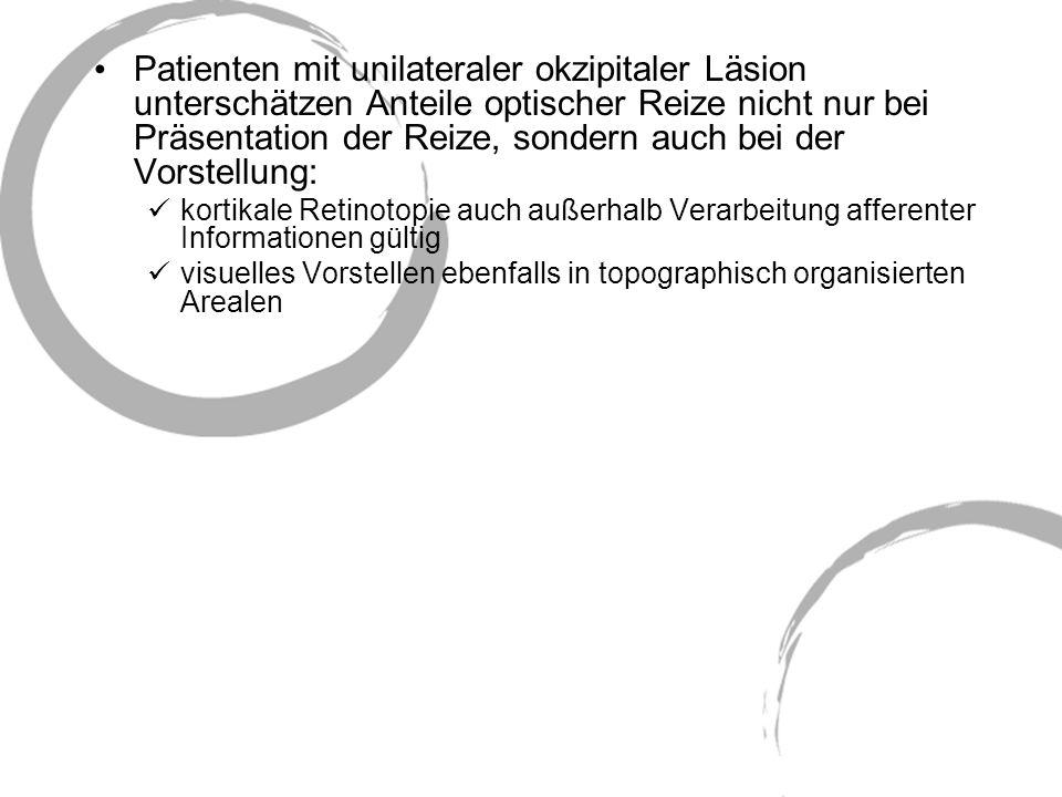 Patienten mit unilateraler okzipitaler Läsion unterschätzen Anteile optischer Reize nicht nur bei Präsentation der Reize, sondern auch bei der Vorstel