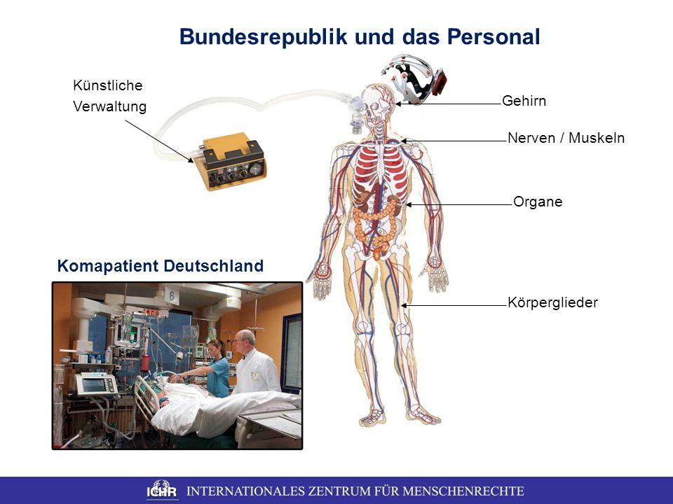 Komapatient Deutschland Bundesrepublik und das Personal Organe Nerven / Muskeln Gehirn Körperglieder Künstliche Verwaltung