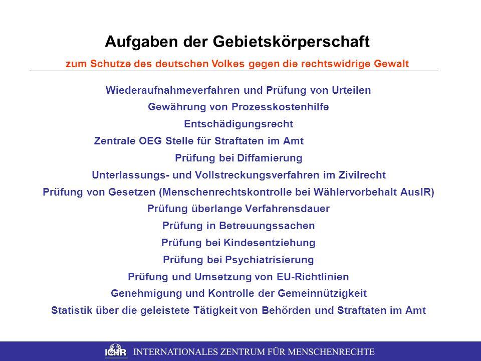 Aufgaben der Gebietskörperschaft zum Schutze des deutschen Volkes gegen die rechtswidrige Gewalt Wiederaufnahmeverfahren und Prüfung von Urteilen Gewä