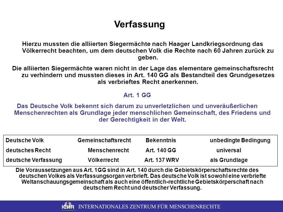 Verfassung Hierzu mussten die alliierten Siegermächte nach Haager Landkriegsordnung das Völkerrecht beachten, um dem deutschen Volk die Rechte nach 60
