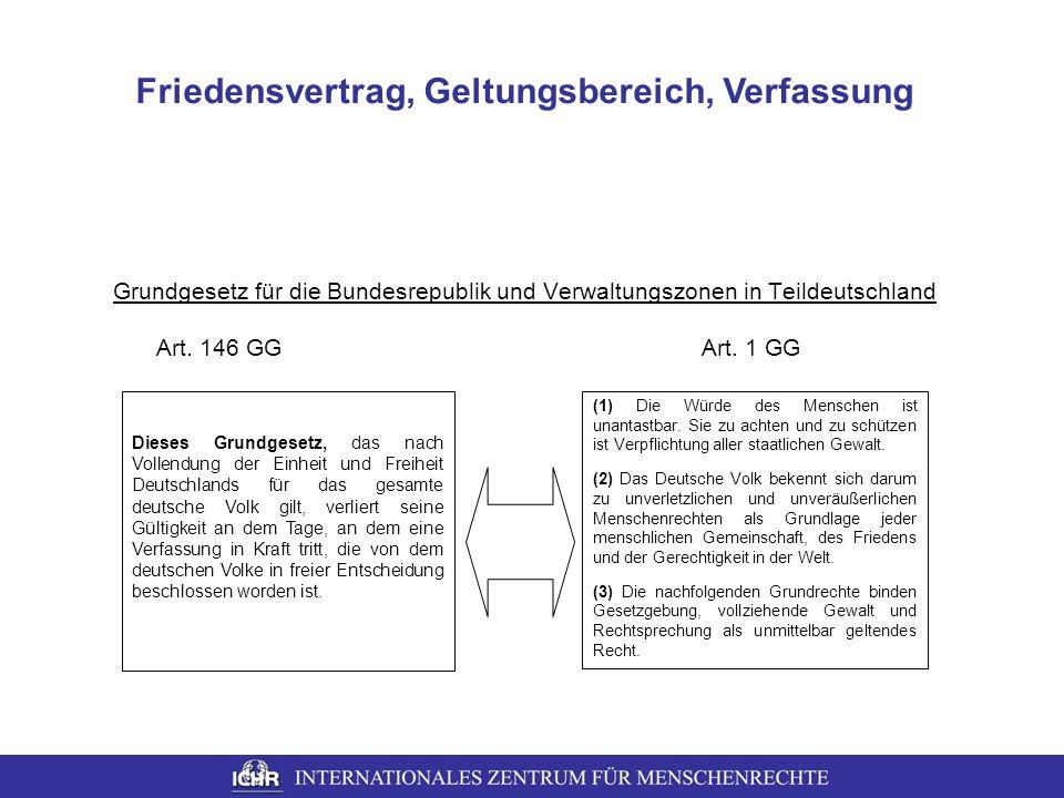 Grundgesetz für die Bundesrepublik und Verwaltungszonen in Teildeutschland Art. 146 GG Art. 1 GG Dieses Grundgesetz, das nach Vollendung der Einheit u