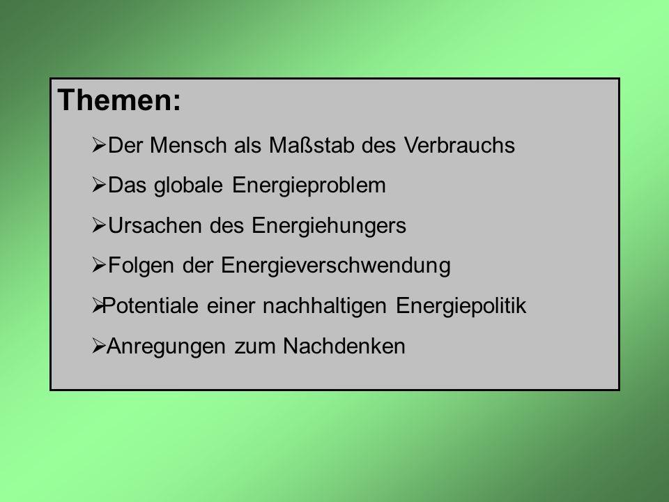 Themen: Der Mensch als Maßstab des Verbrauchs Das globale Energieproblem Ursachen des Energiehungers Folgen der Energieverschwendung Potentiale einer
