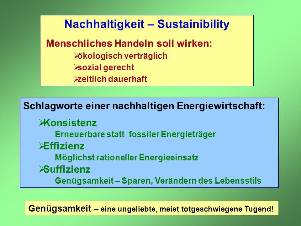 Schlagworte einer nachhaltigen Energiewirtschaft: Konsistenz Erneuerbare statt fossiler Energieträger Effizienz Möglichst rationeller Energieeinsatz S
