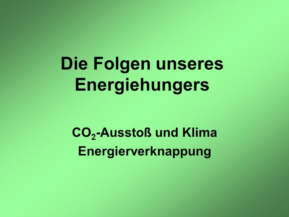 Die Folgen unseres Energiehungers CO 2 -Ausstoß und Klima Energierverknappung